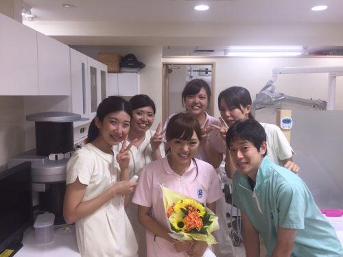 8月いっぱいで衛生士の保谷さんが退職されました。 寿退社です(*^^*) 羨ましいです!! 保谷さんお幸せに(*^^*)